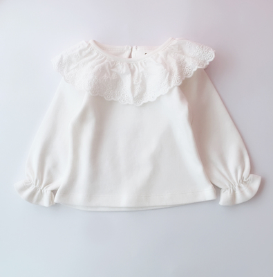 Baby Girl Elegant Cute White Lace Neck Long Sleeve T-Shirt Tops