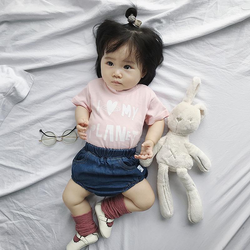 Baby Girl Princess Pink I Love My Planet Short Sleeve T-Shirt Tops
