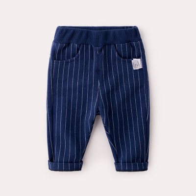 Baby Girl Boy Cute Elastic High Waist Stripes Pocket Long Pants