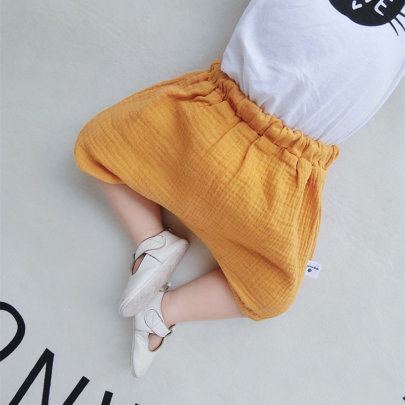 Baby Girl Boy Plain Color Yellow Cotton Linen Short Pants