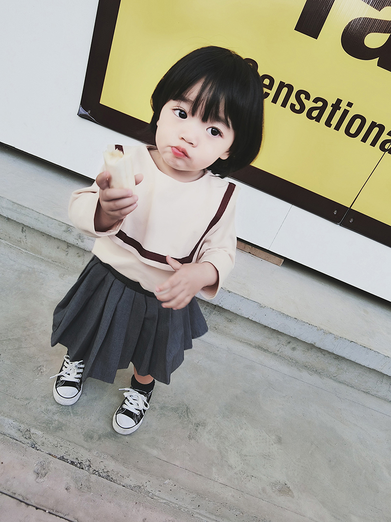 Baby Girl Princess Korean Style Grey Pleated Short Mini Skirts