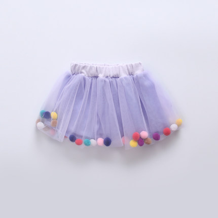 Baby Girl Cute Elastic Purple Round Balls Fluffy Mini Short Skirts