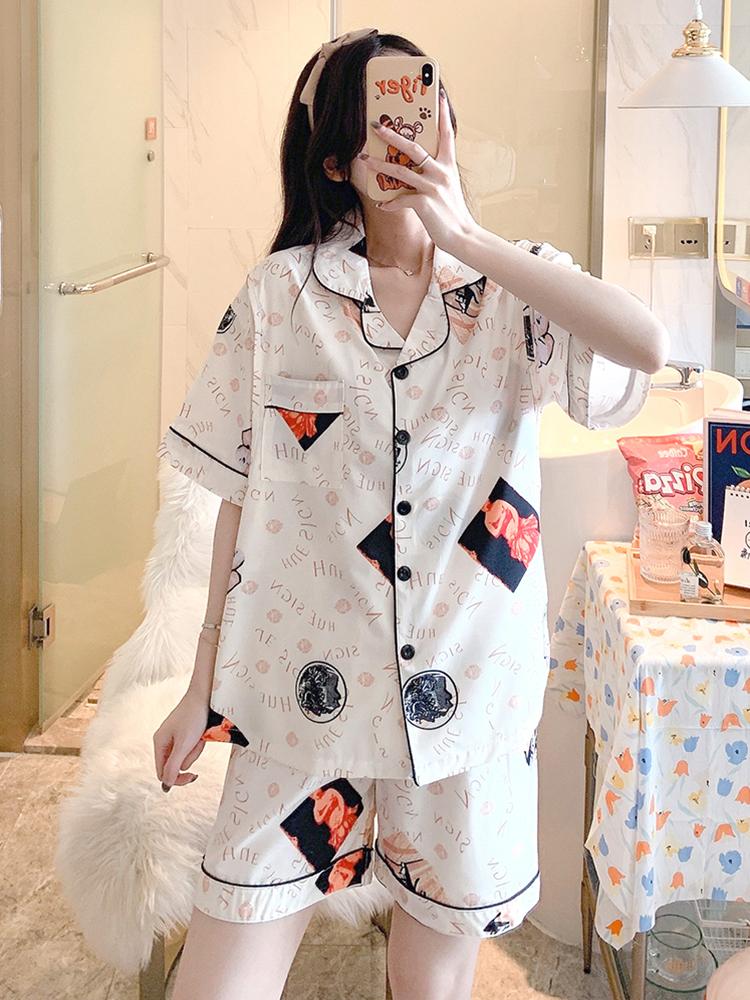 Maternity Clothing Thin Ice Silk Pajamas Short Sleeved Top and Pants