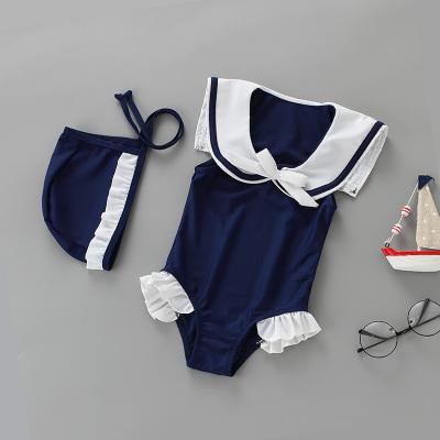 Baby Girl Cute Marine Uniform Cosplay with Swimming Cap Swimsuit Swimwear