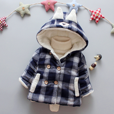 Baby Newborn Girl Boy Scotland Grid Hooded Winter Travel Keep Warm Jacket
