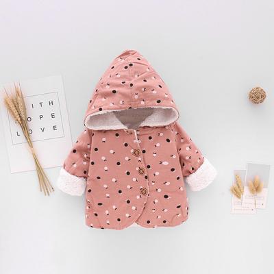 Baby Newborn Girl Boy Small Dots Hooded Winter Travel Keep Warm Jacket