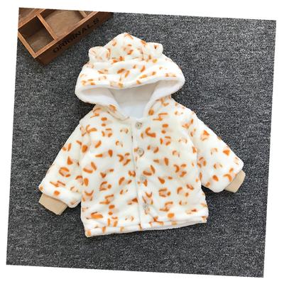 Baby Newborn Girl Boy Cute Beige Leopard Spots Winter Travel Keep Warm Jacket