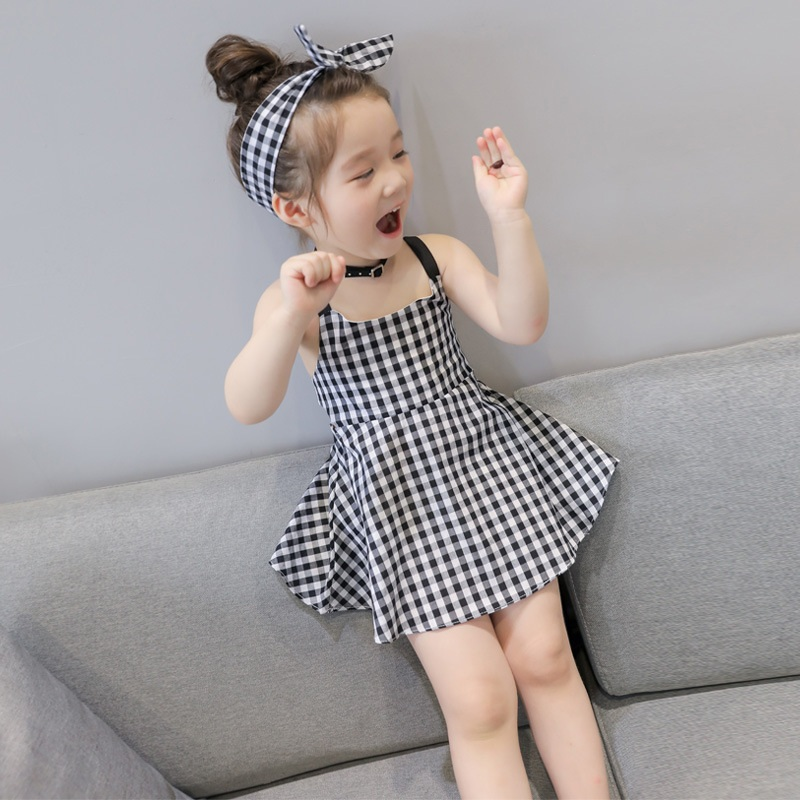 Kids Children Girl Cute Grid Strap Sleeveless A Shape Casual One Piece Dress