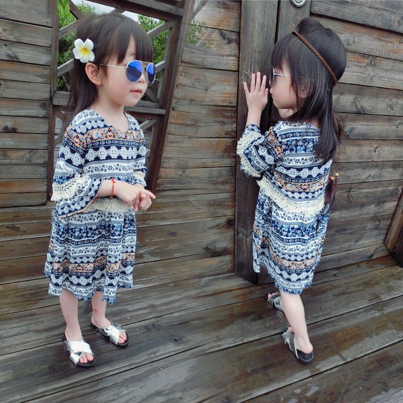 Kids Children Girl Cute Tassel Beach Travel Short Sleeve One Piece Dress