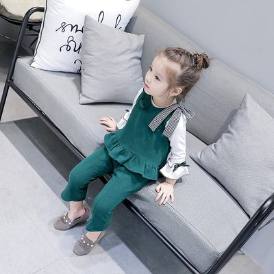Kids Children Girl Cute Jumpsuit Rompers Two Pieces One Set Long Sleeve