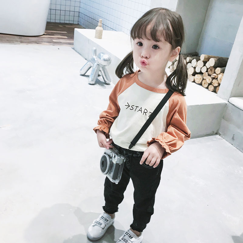 Kids Children Girl Cute Korean Star Mixed Color Long Sleeve T-Shirt Top Blouse