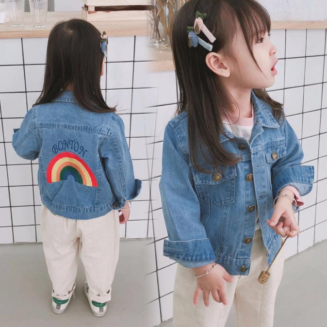 Kids Children Girl Cool Korean Rainbow Denim Jeans Jacket Coat