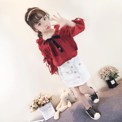 Kids Children Girl Cute Korean Red Ribbon Formal T-Shirt Top Blouse