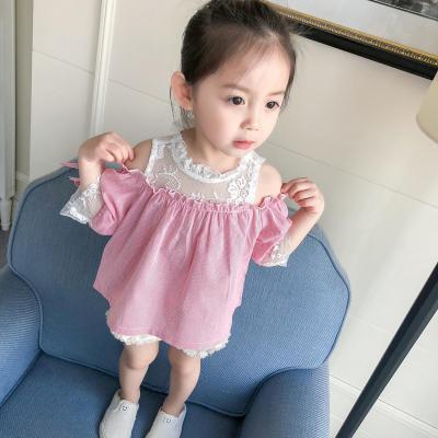 4f9ff6fdcb4b14 Kids Children Girl Cute Korean Pink Lace Off Shoulder Tops T-Shirt ...