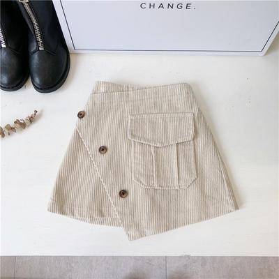 Kids Children Girl Casual One Pockets Corduroy Mini Short Skirts