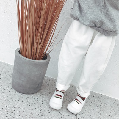 Kids Children Girl Casual Pure White Simple Basic Long Pants Trousers