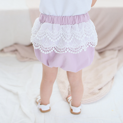 Kids Children Girl Casual Purple Lace Elastic Waist Short Pants Trousers