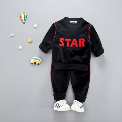 Kids Children Boy Super Value Star Hoodie and Pants Two Pieces One Set