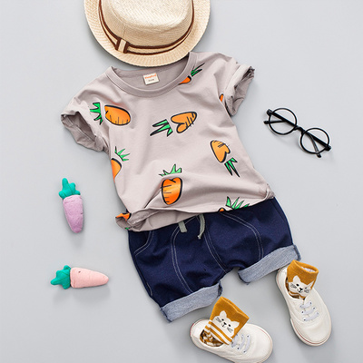 Kids Children Boy Super Value Carrots T-Shirt and Short Pants Two Pieces One Set