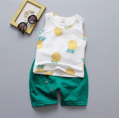 Kids Children Boy Pineapple Sleeveless T Short Pants Two Pieces One Set