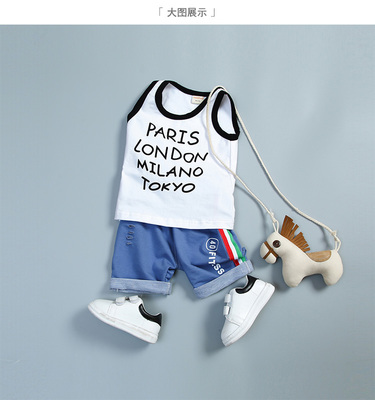 Kids Children Boy Europe Cities Sleeveless T Short Pants Two Pieces One Set