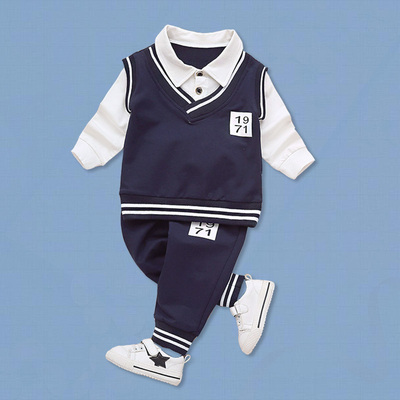 Kids Children Boy Super Value 1971 Students Shirt and Pants Two Pieces One Set