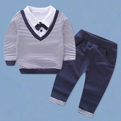 Kids Children Boy Super Value Stripes Students Shirt and Pants Two Pieces One Set