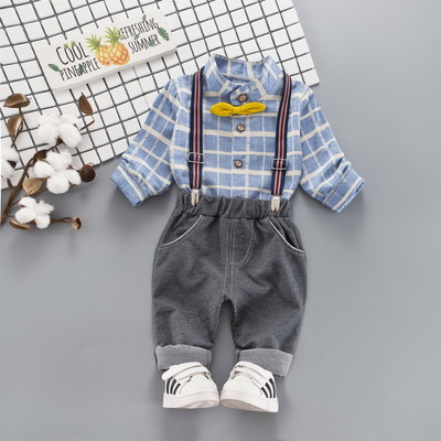 Kids Children Boy Super Value Retro Grid Bow Bib Short Overalls Suspenders