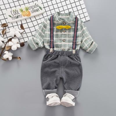 Kids Children Boy Super Value Retro Grid Bow Bib Short Overalls Suspenders